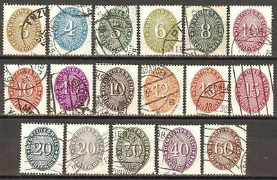 1927 / 1933 Germany short set official issues used ( 1 stamp missing) € 80.00