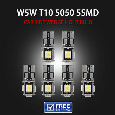 6x T10 W5W 5SMD LED Canbus Error Free Car Side Wedge License Light Bulb White