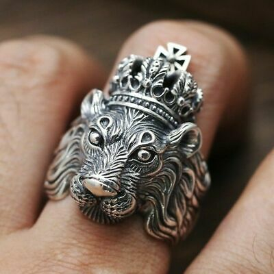 Mens Silver Stainless Steel Gothic Masonic Biker Lion Rings Band Vintage Jewelry