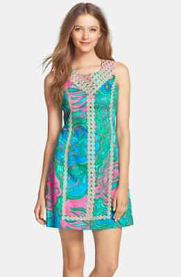 2bfce1d737287a New $198 Lilly Pulitzer MacFARLANE SHIFT Dress LEOPARD Lounge & Gold Lace 0  ...