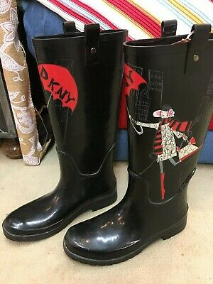 f1f812e4eaf0 DKNY RAIN BOOT Niagra Graffiti Tall Rubber Boots Knee High Love New ...