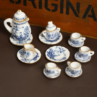 Dolls House Miniature Deluxe China Ceramic Porcelain Coffee Set 1/12-Scale