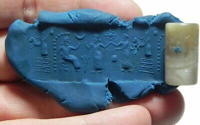 ZURQIEH -as11103- ANCIENT HOLY LAND. STUNNING AGATE CYLINDER SEAL. 1ST MILL. B.C