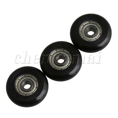 4X Nylon POM Pulley Wheels Groove Small Black Ball Bearings for Door and Window