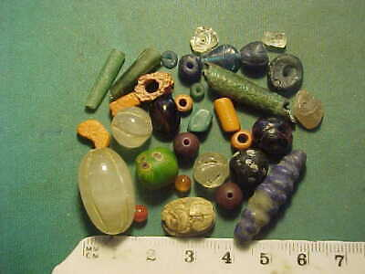 30+ Ancient beads circa 1000 BC-1700 AD + an Egyptian scarab amulet