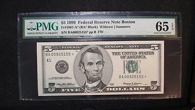 1999 BOSTON Five Dollar PMG GEM UNC 65 EPQ Federal Reserve STAR NOTE $5 BILL!