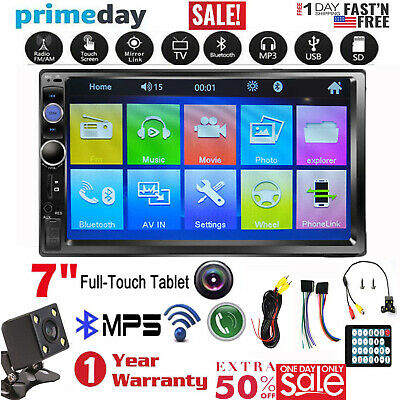 7inch 2 DIN Car Stereo Mp5 Player Touch Screen Bluetooth Radio HD Rear Camera