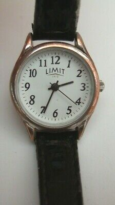 Limit 1912 WATCH C-2035 Black Leather Strap White Face Silver Body