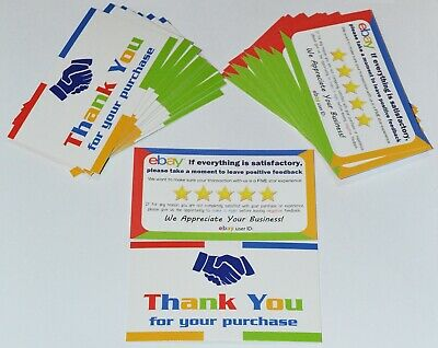 "50 eBay Seller Thank You Cards Both Sides Business Feedback Reminder 2"" x 3.5"""