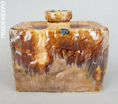 RARE Vintage '60-'70 GOEBEL RECTANGULAR Vase West German Pottery Fat Lava