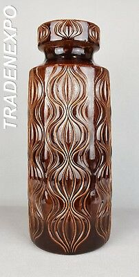LARGE 1970s Vintage SCHEURICH KERAMIK Onion Brown Vase W.German Pottery Fat Lava
