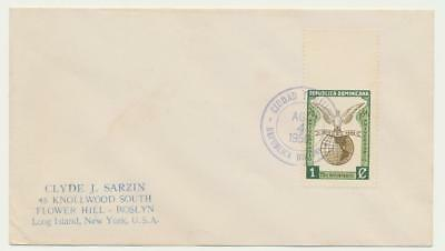 """DOMINICAN REPUBLIC 1949 UPU 1c """"IMPERF TOP MARGIN"""" ON COVER TO USA (SEE BELOW)"""