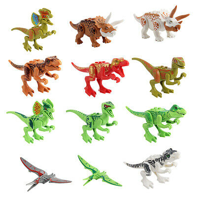 Animals & Dinosaurs Dinosaur Building Blocks 12pcs Movable Head Mouth And Hands Dinosaur Play Figure Action Figures