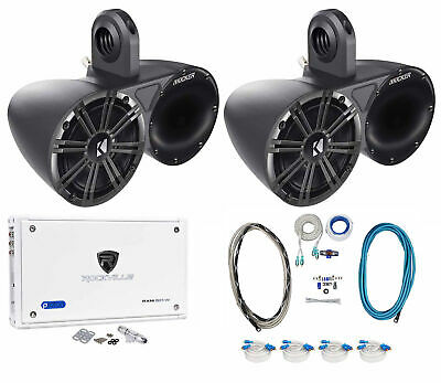 """(2) Pairs Kicker 6.5"""" Wakeboard Component Speakers+8 Channel Amplifier+Amp Kit"""