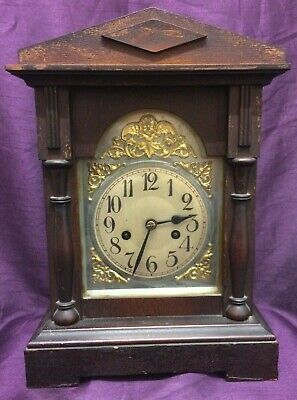 Unbranded Brown Wooden Chime Mantel Clock. Good Used Condition.