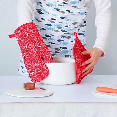 1x Red Thick Long Heat Resistant Oven Gloves + 2x Placemat Potholder Kitchen BBQ