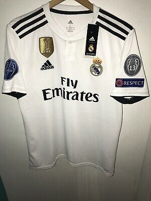 e05bcd578 Adidas Real Madrid Home Soccer Jersey 2018-2019 Champions Patches Size L