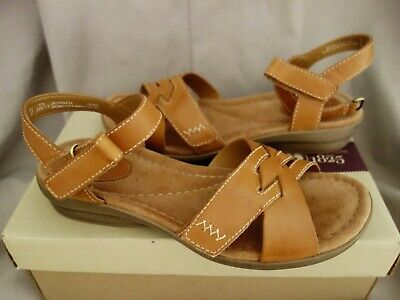 478ab2121a71 CLARKS tan REID LAGUNA open tie strappy summer flats sandals 4D 37 US 6