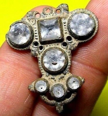 antique old Spanish Medieval Cross White Stones Religious Medal Pendant 14-15th