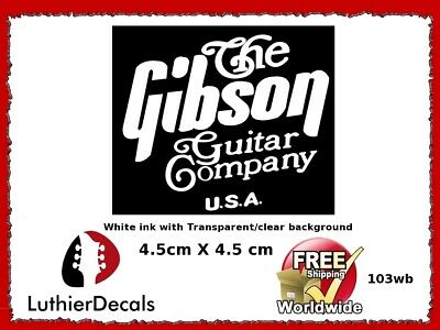 The Gibson Guitar Company Headstock Decal Restoration Waterslide Logo 103wb