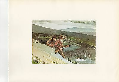 """1972 Vintage Chasse """" Ours 1892 """" Winslow Homer New York Couleur Lithographie"""