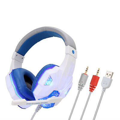 3.5mm LED Gaming Headset MIC Headphones For PC/Mac/Laptop PS4 Xbox One 360 White