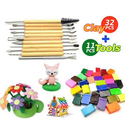 32PCS DIY Craft Oven Bake Polymer Modelling Clay Blocks with 11pcs Carving Tool