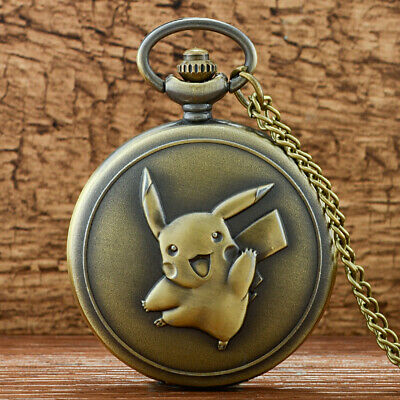 Retro Vintage Pokemon Bronze Pocket Watch Necklace Chain Antique New Full Hunter