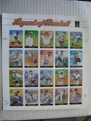 Vintage Scott 3408 Legends Of Baseball Mint Sheet Of Stamps
