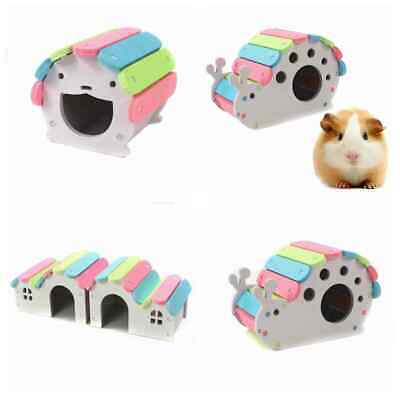 SNAIL House Wooden Hamster Hideout  Hut Pet Bedding Cage Chew Toy