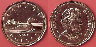 Brilliant Uncirculated 2004 Canada 1 Dollar From Mint's Roll