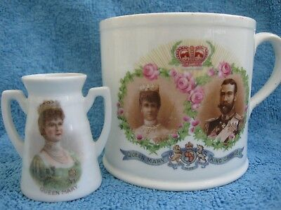 vintage 1911 KING GEORGE V Coronation CUP & QUEEN MARY double handled mini VASE