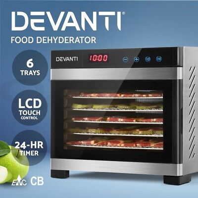 DEVANTi 6 Trays Commercial Food Dehydrators 304 Stainless Steel Fruit Dryer