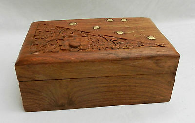 Hand Carved Brass Inlaid Indian Rosewood Box - Lined with Red Velvet - New