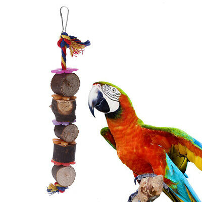 Colorful Bird Parrot Flower Wood Bite Toys With Bell Molar Exercise Pet Toy