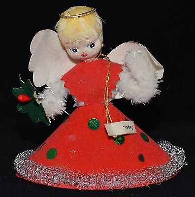 Vintage Japan Paper Mache Face Angel Felt Christmas Ornament Mid-Century 1940/50