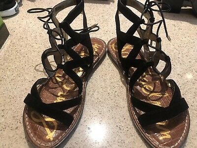 1bd3bf46ad6 NWOB SAM EDELMAN Gemma black suede lace up gladiator sandals 6 ...