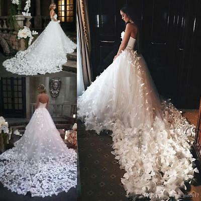 Vintage Wedding Dresses Butterflies Bridal Ball Gowns Strapless Corset Lace Up