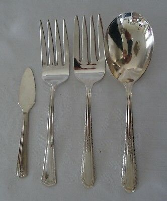 Antique English silverplate lot 4 servers 2 Meat Fork Serving Spoon Cheese Pate