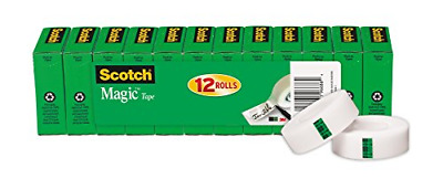 Scotch Magic Tape Refill, 3/4 x 1000 Inches, 12 Rolls Matte Home School Office