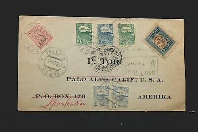 Estonia: Tallinn 1920 Registered Cover to USA & Forwarded, 7 Imperforate Stamps