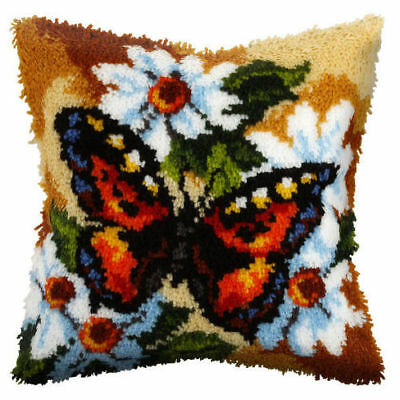 Butterfly Latch Hook Cushion Front Kit. Orchidea, 40x40cm Printed canvas