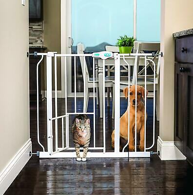 Extra Tall Baby Safety Fence Walk Thru Gate Pet Cat Dog Portable Wide Metal Door
