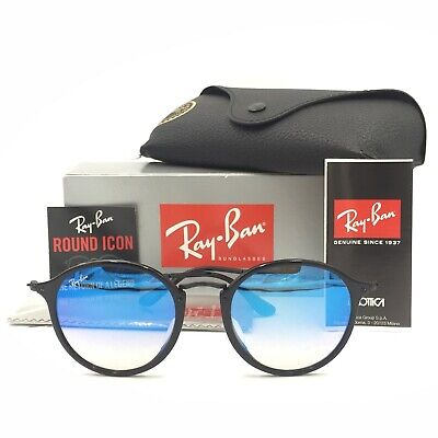 60ca16debe1 New Ray-Ban RB2447F 901 40 Round Black Sunglasse W  Blue Mirrored Lens