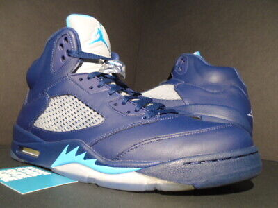 3dbe41bfaea3 Nike Air Jordan V 5 Retro Hornets Pre-Grape Navy Blue Turquoise White Black  13