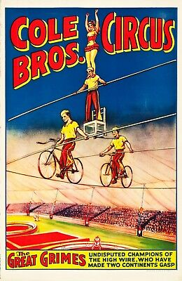Original vintage American 1930s/40s Cole Brothers Circus poster The Great Grimes