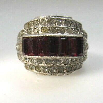 Great Vintage Clear Red Paste Ring Art Deco Sterling Silver Antique