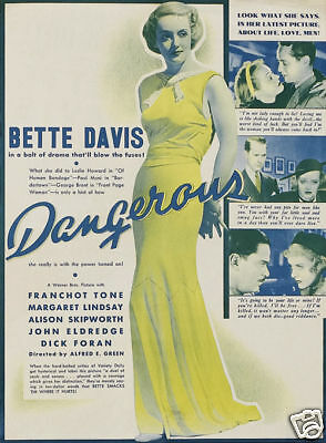 Dangerous Bette Davis 1935 Vintage movie poster print
