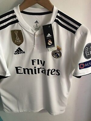 4e6129725 Adidas Real Madrid Home Soccer Jersey 2018-2019 Champions Patches Sizes  white