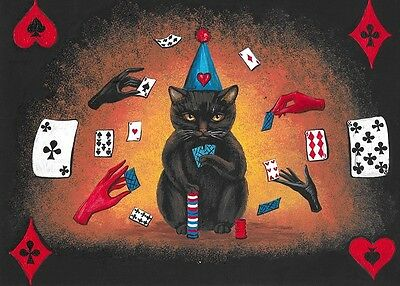 ACEO PRINT OF PAINTING RYTA HALLOWEEN BLACK CAT POKER JOL MOUSE WITCH SKELETON